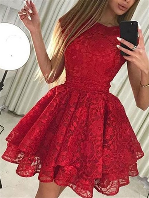 Ericdress Bowknot Cap Sleeves Lace Cocktail Dress 2019