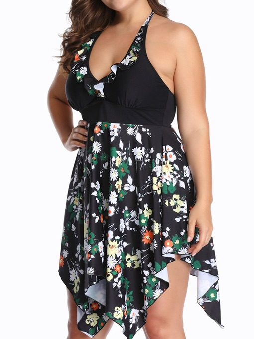 Ericdress One Piece Lace-Up Floral Swimwear