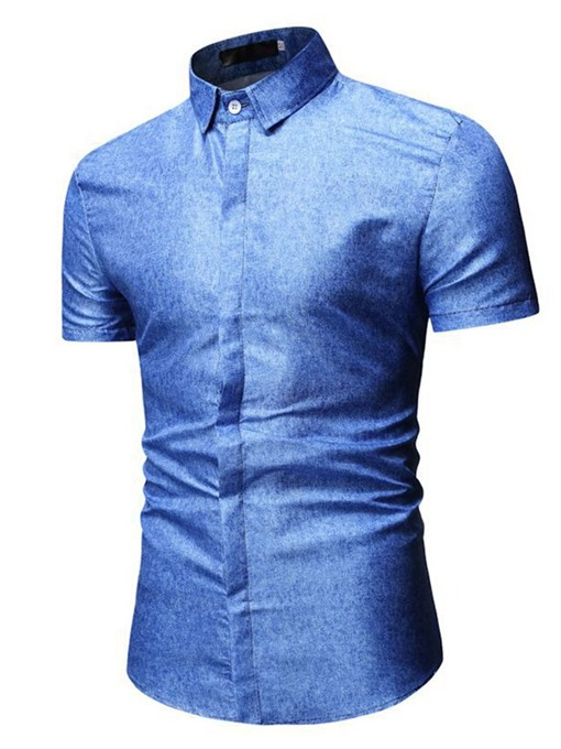 Ericdress Lapel Button Plain Slim Mens Summer Shirt