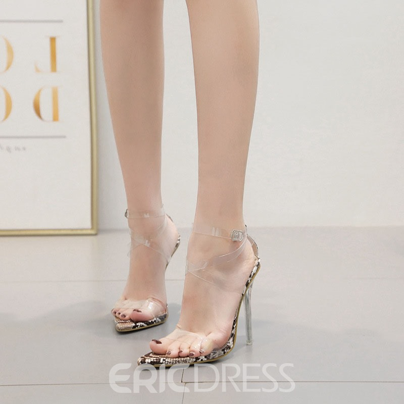 Ericdress PVC Buckle Pointed Toe Stiletto Heel Women's Sandals