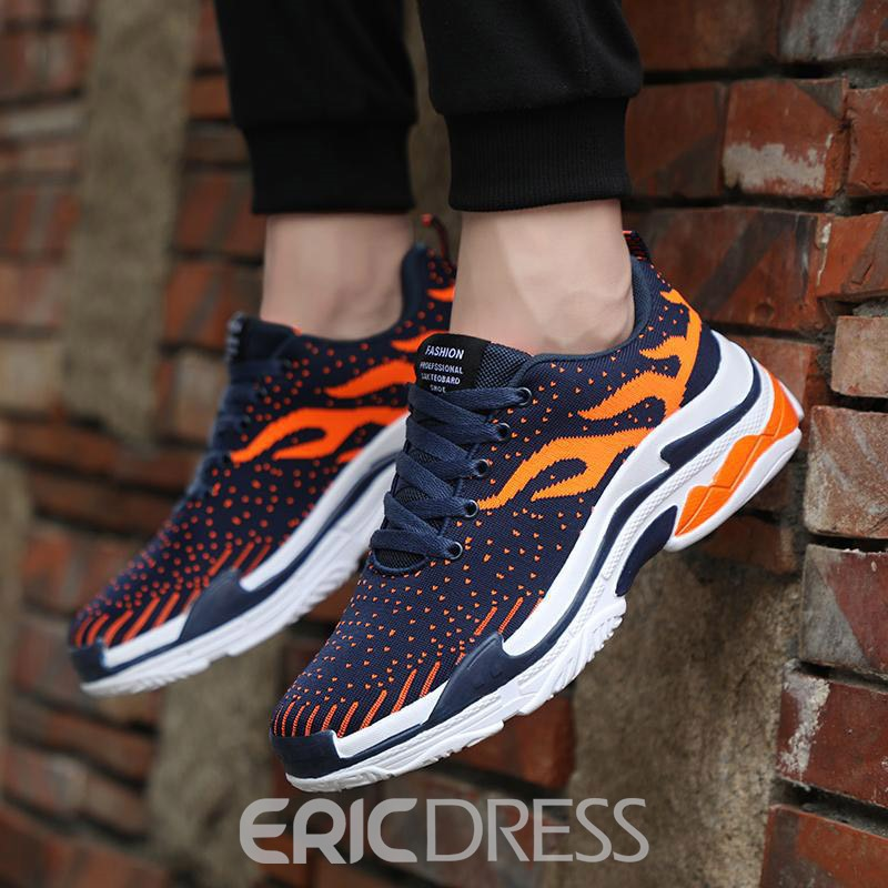Ericdress Mesh Color Block Lace-Up Men's Breathable Sneakers