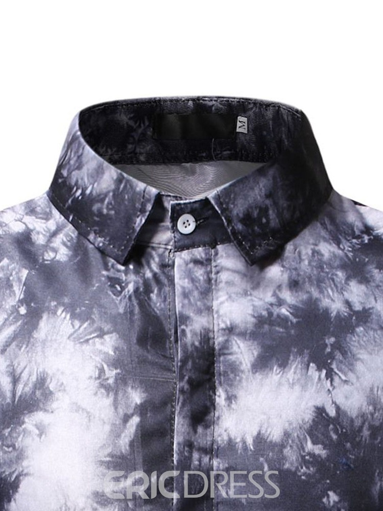 Ericdress Lapel Casual Button Summer Floral Mens Slim Shirt