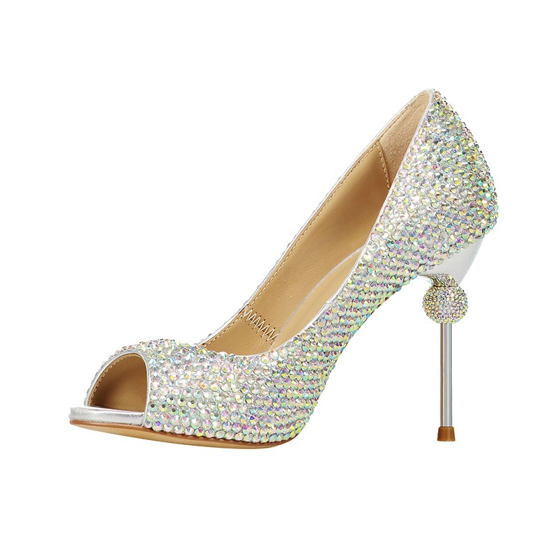 Ericdress Rhinestone Peep Toe Stiletto Heel Slip-On Women's Prom Shoes