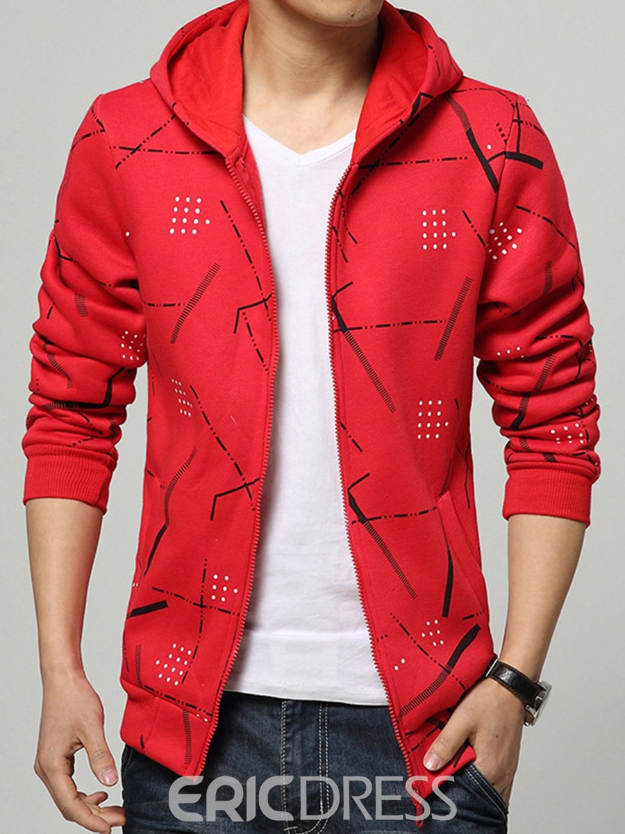 Ericdress Print Cardigan Men's Casual Hoodies