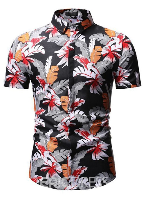 Ericdress Print Casual Floral Single-Breasted Mens Slim Shirt