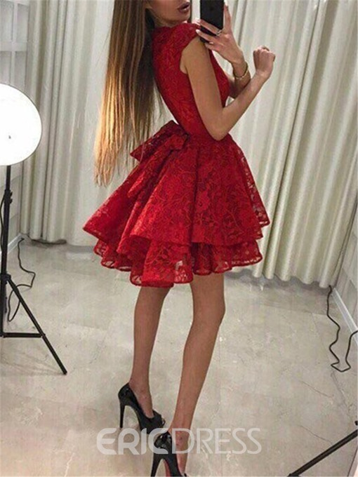 Ericdress Bowknot Cap Sleeves Lace Cocktail Dress