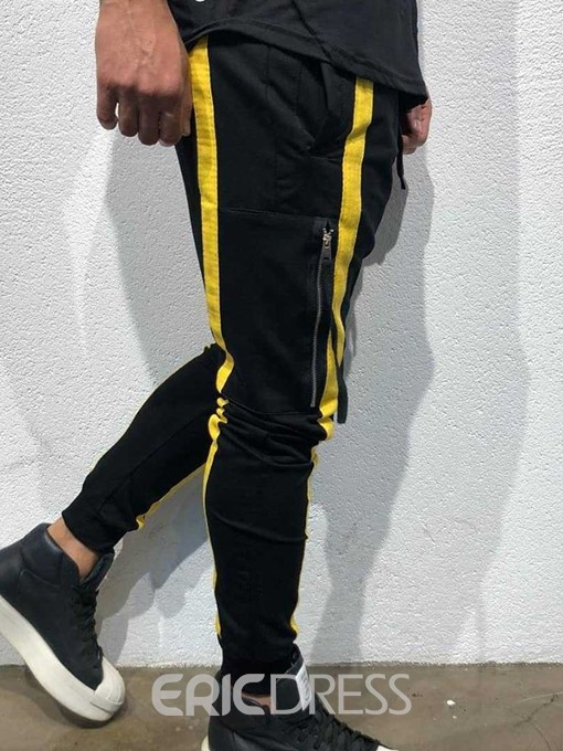 Ericdress Color Block Lace-Up Casual Mens Casual Pants