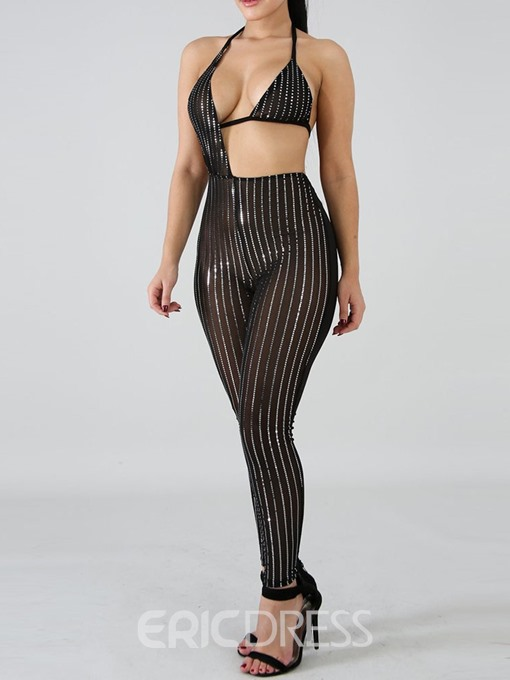 Ericdress Sexy Lace-Up Stripe Hand Painted High Waist Skinny Jumpsuit