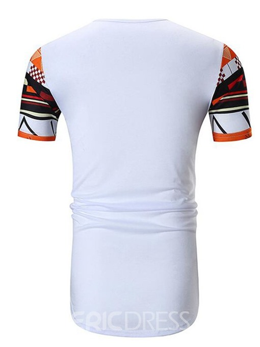 Ericdress Print Round Neck Color Block Slim Mens Short Sleeve T-shirt