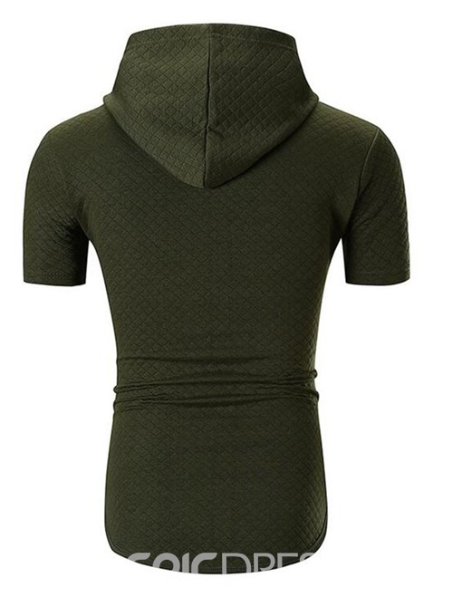 Ericdress Plain Casual Hooded Slim Mens T-shirt