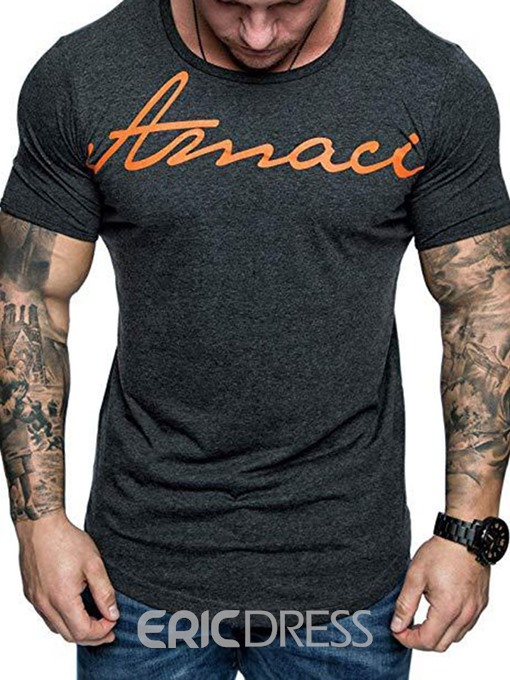 Ericdress Casual Letter Round Neck Short Sleeve Mens Slim T-shirt