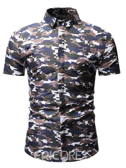 Ericdress Casual Camouflage Button Slim Mens Single-Breasted Shirt