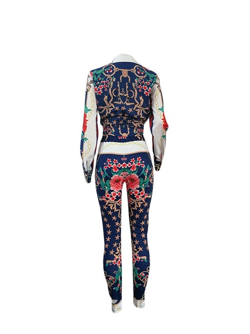 Ericdress African Fashion Print Floral Slim Shirt And Pants Two Piece Sets