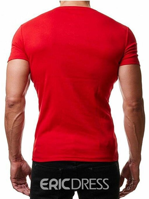 Ericdress Button V-Neck Casual Slim Mens Short Sleeve T-shirt