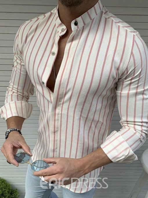 Ericdress Stripe Casual Stand Collar Mens Slim Shirt