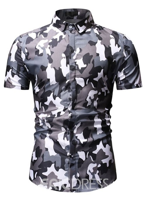Ericdress Casual Button Camouflage Single-Breasted Mens Summer Shirt
