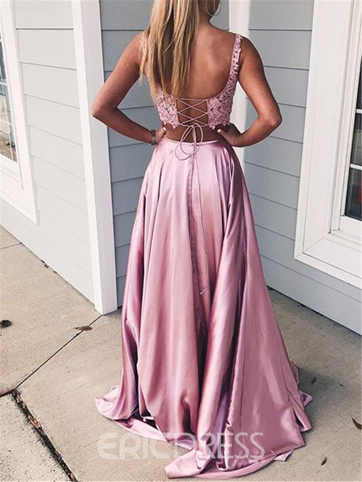 Ericdress Floor-Length A-Line Lace Two Pieces Evening Dress 2019