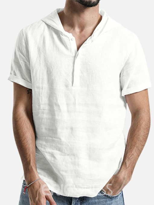 Ericdress Casual Hooded Button Short Sleeve Mens Loose T-shirt