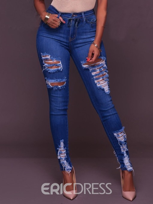 Ericdress Plain Mid Waist Skinny Ripped Jeans