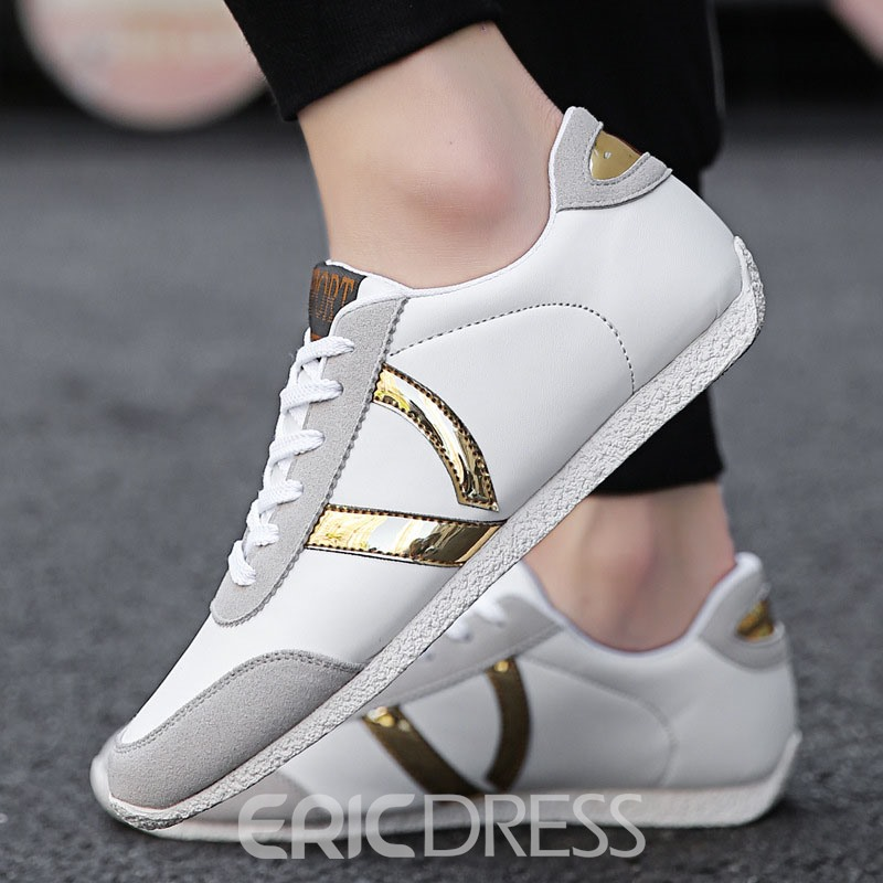 Ericdress PU Color Block Lace-Up Men's Casual Sneakers
