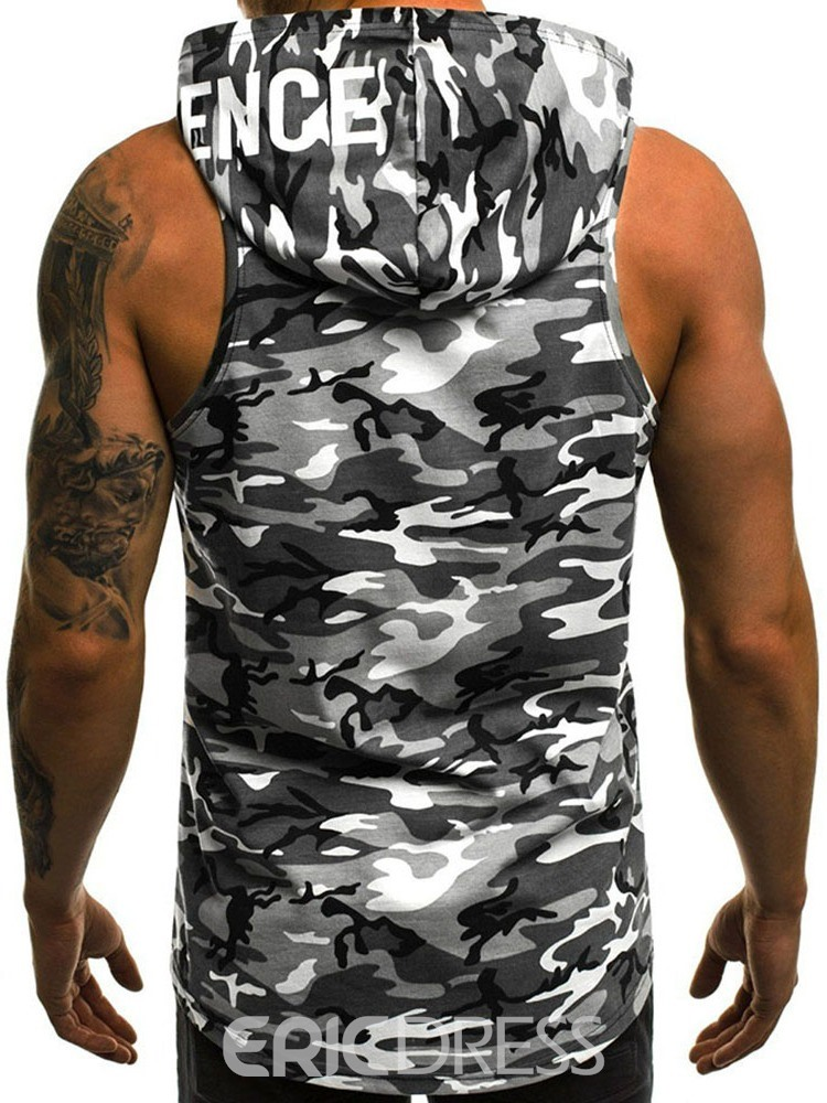 Ericdress Camouflage Slim Hooded Casual Mens Vest