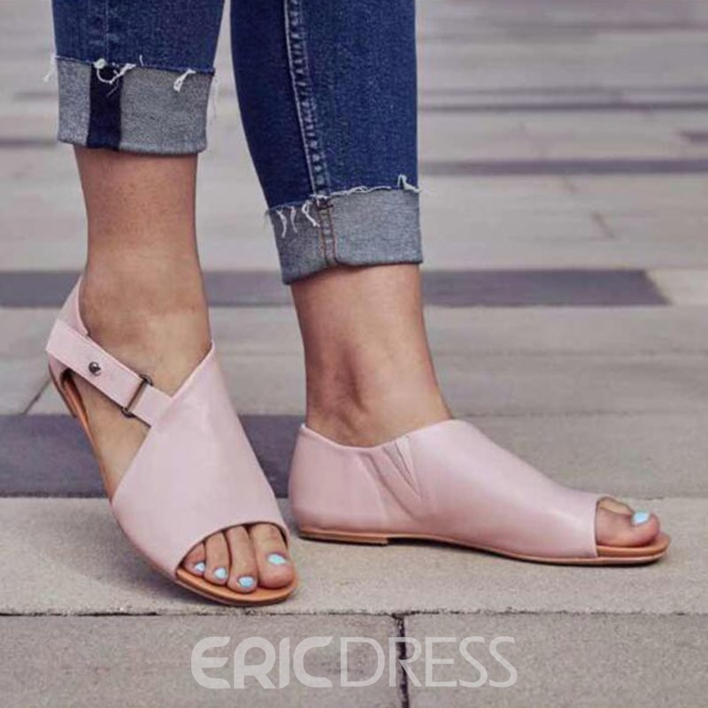 Ericdress PU Buckle Heel Covering Open Toe Women's Flat Sandals