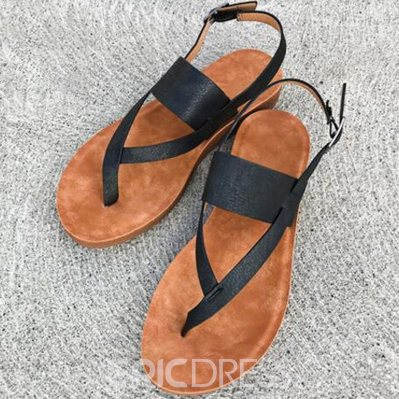 Ericdress PU Thong Strappy Women's Flat Sandals