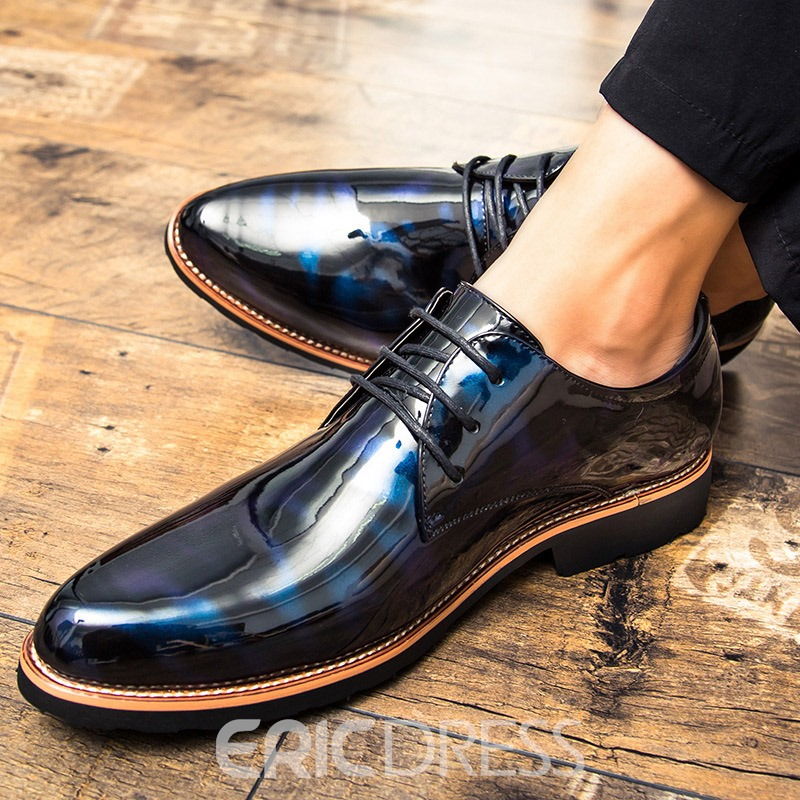 Ericdress PU Pointed Toe Block Heel Men's Dress Shoes