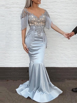 Ericdresss Short Sleeves Appliques Mermaid Evening Dress 2019