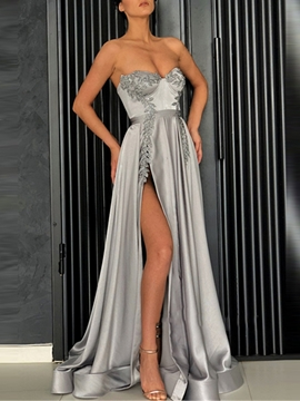 Ericdresss A-Line Sweetheart Appliques Evening Dress 2019 With Side Slit