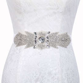 Wide Belt(>4cm) Polyester Rhinestone Wedding Belts