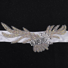 Wide Belt(>4cm) Fabric Rhinestone Bridal Belts