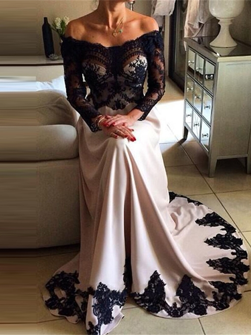 Ericdress Off The Shoulder Lace Applique Long Sleeves Evening Dress 2019