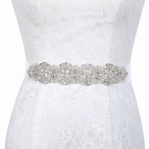 Polyester Wide Belt(>4cm) Rhinestone Wedding Bridal Belts 2019