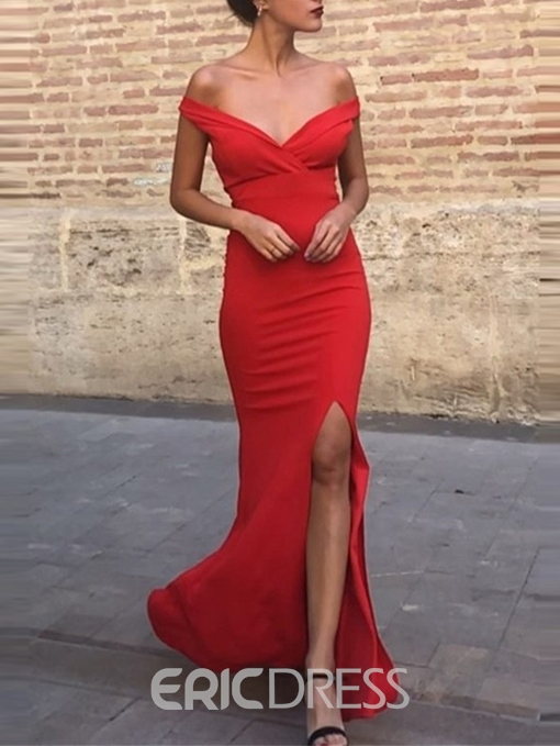 Ericdress Off-The-Shoulder Sheath Split-Front Red Evening Dress