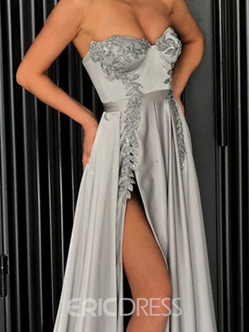 Ericdresss A-Line Sweetheart Appliques Evening Dress With Side Slit