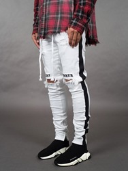 Ericdress Pencil Pants Letter Hole Mid Waist Mens Casual Jeans фото