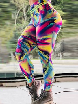 Ericdress Color Block Print Breathable Gym Sports Yoga Leggings