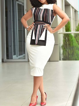Ericdress African Fashion Patchwork Sleeveless Round Neck Bodycon Dress