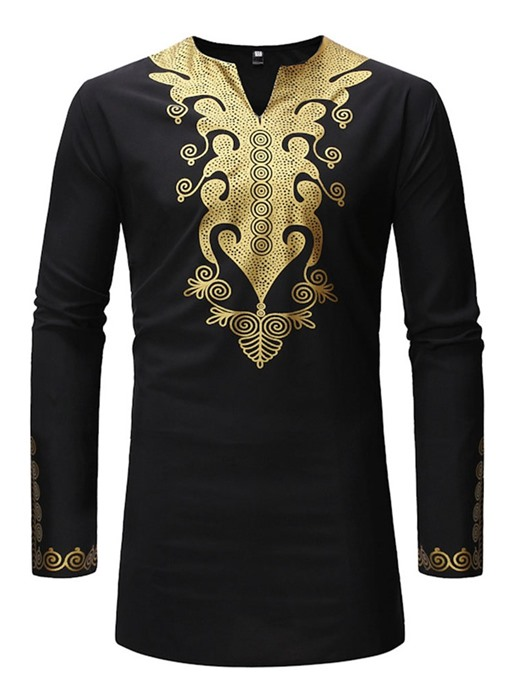Ericdress African Fashion Dashiki Stand Collar Print Slim Mens Shirt