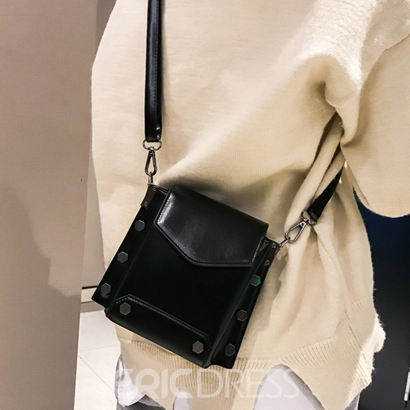 Ericdress Plain Rivet PU Rectangle Shoulder Bags
