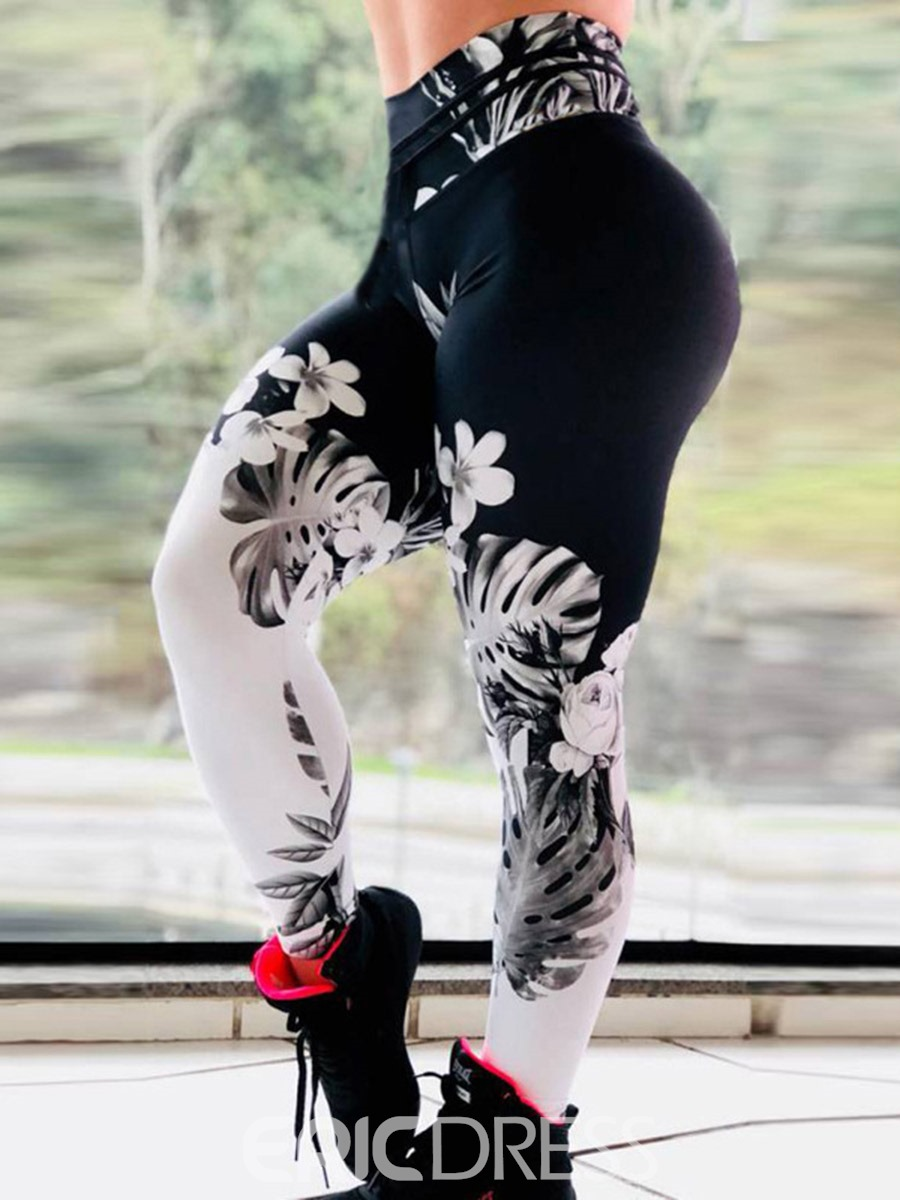 Ericdress Floral Print Breathable Gym Sports Fitness Yoga Pants