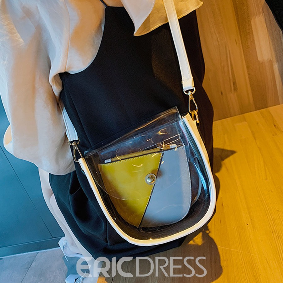 Ericdress Clear ABS Plastic Color Block Saddle Shoulder Bags