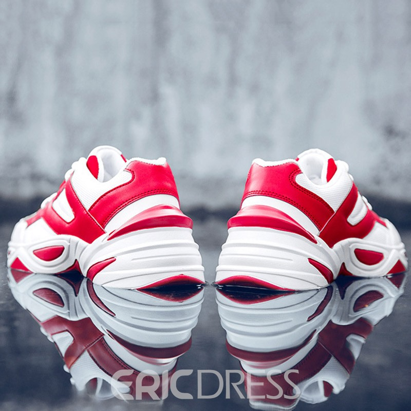 Ericdress PU Color Block Lace-Up Round Toe Men's Outdoor Sneakers