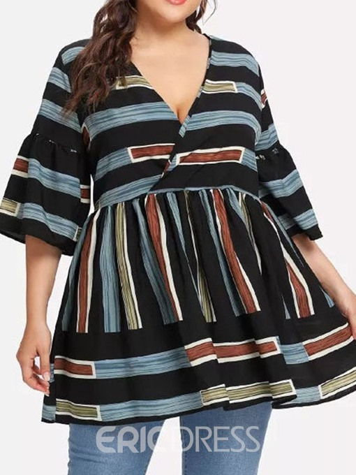 Ericdress Stripe V-Neck Patchwork Mid-Length Blouse