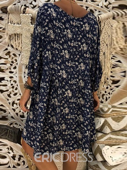 Ericdress Floral Print Casual Above Knee Travel Look V-Neck Pullover Dress