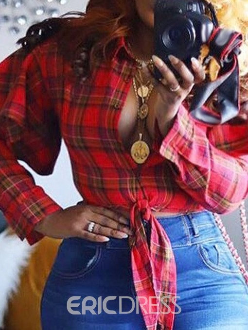Ericdress Plaid Ruffles Lace-Up Casual Blouse