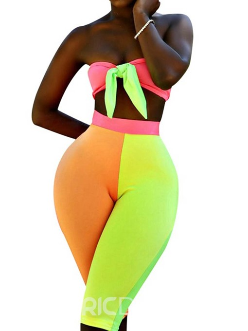 Ericdress Color Block Sexy Slim Vest And Mid-Calf Pants Two Piece Sets