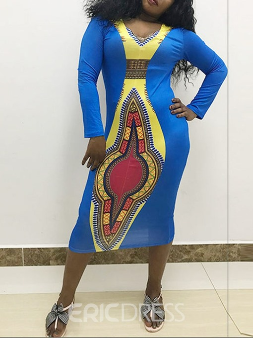 Ericdress African Fashion Mid-Calf V-Neck Bodycon Mid Waist Dress
