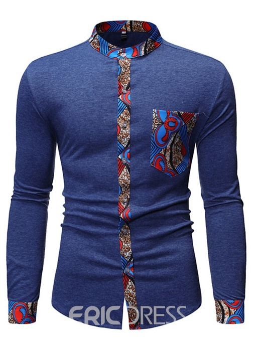 Ericdress Casual Stand Collar Pocket Slim Mens Single-Breasted Shirt